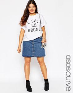 a89ba83d4f515 CURVE Dolly Denim A-line Button Through Mini Skirt in Mid Wash Blue