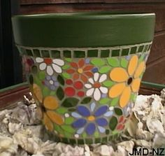 mosaic pots | This terracotta pot is 26cm (10 inches) tall. The ceramic tiles I cut ...