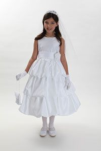 Girls Dress Style 1061- White or Ivory Satin Bubble Dress with Choice of 26 Sash Options