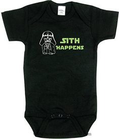 Baby Boy Clothes Texas Tees Funny Baby Boy Bodysuit, Sith Happens Shirt, Star Wars Inspired, Black 3-6 mo