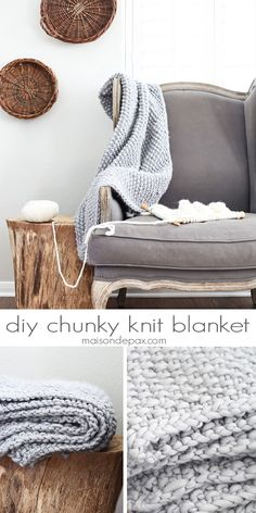 Gorgeous diy chunky knit blanket in a soft gray wool   http://maisondepax.com