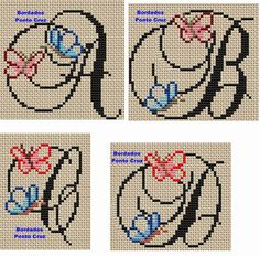 Sol arts and embroidery: Butterfly Monogram - myeasyidea sites Cross Stitch Alphabet Patterns, Cross Stitch Letters, Letter Patterns, Canvas Patterns, Stitch Patterns, Plastic Canvas Letters, Butterfly Cross Stitch, Butterfly Embroidery, Embroidery Monogram