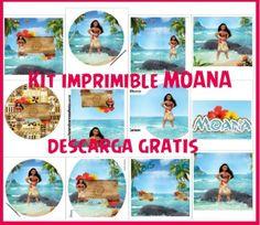 Moana Kit imprimible gratis - decoracion de moana - stickers moana - tarjetas de moana - moana banderines adornos