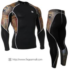 #FIXGEAR #Compression Base Layer Long Sleeve #Shirts & #Pants Set, model no C2L/P2L-B27-SET, Skin Tights and Advanced Performance Fabric. ( #AeroFIX ) #Workout #Fitness #Crossfit #Training #MMA #Jujitsu #Yoga