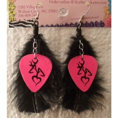 "Hot pink country browning ""deer love"" symbol guitar pick earrings with... ($9) ❤ liked on Polyvore"