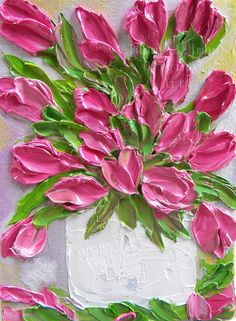 Pink Tulip Abstract Oil Painting,  Oil Impasto Abstract Painting,, Wedding, Grandmother,Gift for Her, Daisy Painting