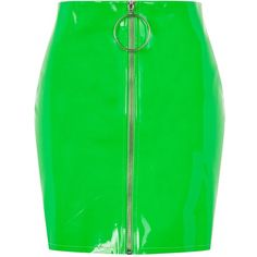 Neon Pu Mini Skirt by Jaded London (175 BRL) ❤ liked on Polyvore featuring skirts, mini skirts, bottoms, green, zip skirt, neon green skirt, zipper skirt and neon green mini skirt