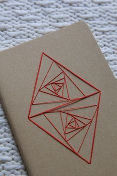 Double Triangle Whirl Notebook/Journal/Sketchbook - Sacred Geometry : Beige with Red Contemporary Embroidery by TheInfiniteThread on Etsy