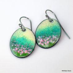 Copper Enameled Dangles, Pastel Flower Fields Earrings, Dreamy Floral Landscape Earrings, Vitreous Enamel, Handmade Artisan Original SOLD