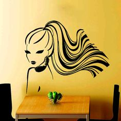 Wall Decals Woman Hair Twig Hairdressing Beauty by VinylDecals2U