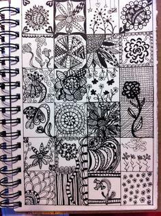More doodling on a grid. Flowers and zentangles. Doodle Patterns, Zentangle Patterns, Zentangles, Little Doodles, Mark Making, Op Art, Mandala Design, Art Journals, Tangled