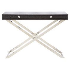 Add a sleek touch to your decor with this 2-drawer console table, featuring a croc-inspired faux leather top and crossed metal base.   ...