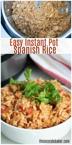 Instant Pot Spanish Rice - made with white rice, onions, peppers, garlic and tom. - The Seaside Baker Recipes - Rice White Rice Recipes, Rice Recipes For Dinner, Mexican Food Recipes, Ethnic Recipes, Rice Instant Pot Recipe, Instant Rice, Spanish Rice Recipe, Evening Meals, Pressure Cooker Recipes
