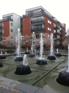 Fountain. Hammarby Sjöstad, Stockholm, Sweden.