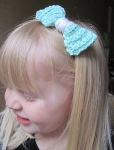 Mini Bow HeadbandTeal and White by OwlsNestCrochet on Etsy, $6.50