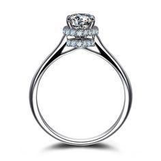 #AdoreWe #Jeulia Jewelry - Jeulia Luxury 1.0CT Round Cut Created White Sapphire Engagement Ring - AdoreWe.com