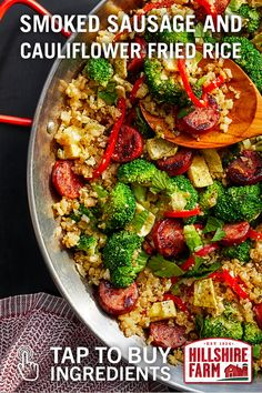 food_drink - Buy the ingredients for this tasty medley of flavor—Hillshire Farm® Smoked Sausage, riced cauliflower, broccoli and Sausage Recipes, Paleo Recipes, Low Carb Recipes, Chicken Recipes, Cooking Recipes, Paleo Food, Cauliflower Recipes, Riced Cauliflower, Lean And Green Meals