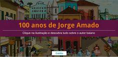 Centenário de Jorge Amado.  Clique na ilustração e descubra informações sobre a vida e a obra do escritor baiano.