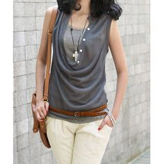 Draped Collar Solid Color Slimming T-Shirt