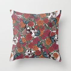 Roses, Skulls and Butterflies Throw Pillow by Paula Belle Flores - $20.00