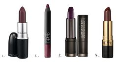 1. MAC Pro Lipstick in Smoked Purple. 2. NARS Velvet Matte Lip Pencil in Train Bleu. 3. Make Up Forever Rouge Artist Intense in 49. 4. Revlon Super Lustrous Lipstick Creme in Black Cherry.