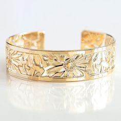 Gold bracelet, Delicate Gold cuff bracelet, Gold bracelet cuff, Gold cuff, Cuff bracelet, Gold bangle, Floral bracelet, Gold jewelry