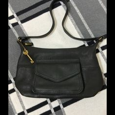 Fossil purse Fossil Soft Black Leather Shoulder Purse W/ Brass Key Fob ! Preloved! Fossil Bags Shoulder Bags
