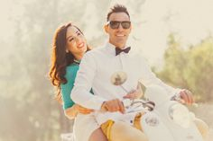 Manny + Jasmin | Vintage Vespa Scooter engagement session in los angeles - Yuna Leonard Photography