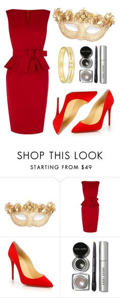 """""""Red Mask Party"""" by sofiaflechtner ❤ liked on Polyvore featuring Masquerade, Karen Millen, Christian Louboutin and Bobbi Brown Cosmetics"""