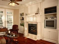 fireplace with built in cabinets Fireplace Built Ins, Fireplace Mantle, Fireplace Surrounds, Fireplace Design, Fireplace Ideas, Stone Fireplaces, White Fireplace, Fireplace Bookshelves, Mantle Ideas