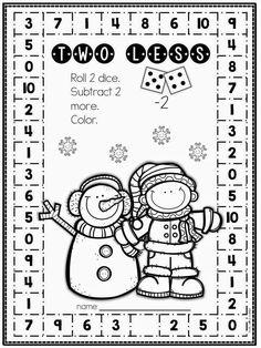FREE no-prep winter math subtraction activity Math Subtraction, Subtraction Activities, Math Activities, Multiplication, Fractions, Math Stations, Math Centers, Lorie, Second Grade Math