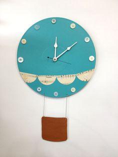 Custom Color Hot Air Ballon Wall Clock Nursery by LaurelsArt, $40.00