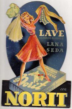 Publicidad NORIT. Antiguo carton display de sobremesa. (27 x 18 ctms.) Años 40/50. Precioso