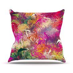"""Danny Ivan """"Splash"""" Rainbow Abstract Outdoor Throw Pillow"""