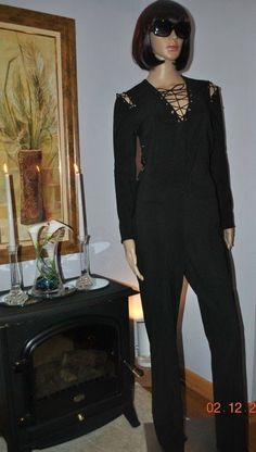 Vintage 70's Black Poly Lace Up Mod Disco Jumpsuit FREDRICKS of HOLLYWOOD M - L #FredericksofHollywood
