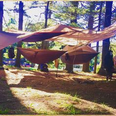 #tree-jam-camp front and center 200yards from #lakehuron thank you @theseekersof for the epic event.... #grandtrunk 3 deep under the rain fly #hammocklife #arblife #life #michigan #camping @ic_trees