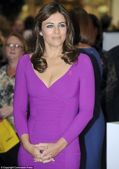 Legendary Beauty Liz Hurley at her Breast Cancer Awareness campaign Hurley Hurley Breast Cancer Awareness Campaign Hurley Awareness Campaign Hurley Social Work Campaign Elizabeth Hurley, Awareness Campaign, Social Work, Office Wear, Breast Cancer Awareness, Jewelry Collection, Diamonds, Ribbon, Vogue