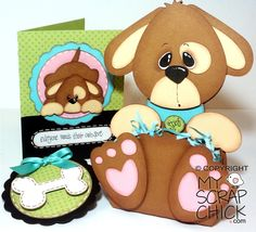 Trio of Dogs, my scrap chick...love the puppy...great idea for a new puppy gift..