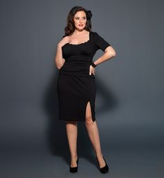 We love the curve hugging silhouette of the Plus Size Dollface Dress by  Kiyonna. With a sexy slit that shows a hint of skin and a touch of black  lace trim bbd9a1ea6