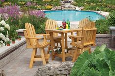 Begin eating your family meals outdoors on our spacious Amish Pine Wood Square Patio Dining Table. This outdoor wooden Amish handcrafted table is perfect for o Deck Chairs, Adirondack Chairs, Table And Chairs, Dining Table, Patio Dining, Outdoor Pub Table, Outdoor Dining Furniture, Pub Tables, Outdoor Decor