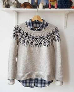 Humulus knit sweater pattern by Isabell Kraemer  This lovely, patterned yoke sweater is begging to be paired with your favorite plaid shirt and leggings! #knit #knitting #yarnlove #ravelry #sweaterweather