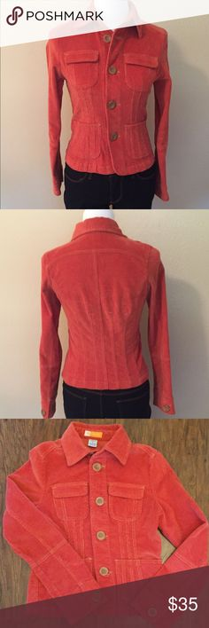 Anthropologie Tulle Jacket This Anthropologie Tulle jacket is in perfect condition. It's made of orange corduroy and features four pockets on the front and large buttons! It's a great look.. j Anthropologie Jackets & Coats