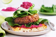With lamb patties, Turkish bread and beetroot hummus, these open burgers are such an easy Mediterranean-inspired dinner.