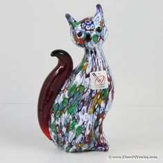 Murano Art Glass Millefiori Cat Sculpture