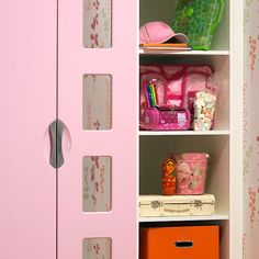 Pink and white gloss finished, fitted wardrobe with plenty of shelving space for clothes, books and toys. http://www.starplanbedrooms.com/ranges/view/childrens-bedrooms/