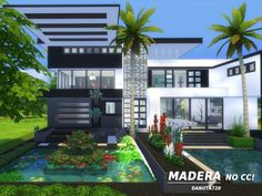 The modern family home. Found in TSR Category 'Sims 4 Residential Lots' Pool House Plans, Sims House Plans, New House Plans, Sims 4 Modern House, Sims 4 House Design, Lotes The Sims 4, Sims Cc, Tokyo Apartment, Sims Freeplay Houses