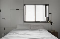 No.2 Modern Composition designed by Studio In2, inspired by midcentury modern art. Interior design, bedroom, geometry, black and white, storage design, lamp