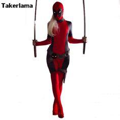 Takerlama Lady Deadpool Cosplay Costume Red Full Spandex Bodysuit Halloween Female Superhero Costume Zentai Suit On Sale #Affiliate