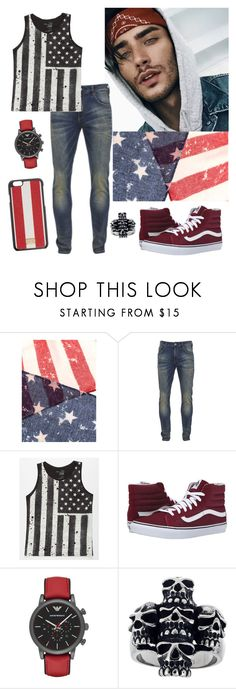 """""""OOTD // Happy 4th of July- Toni"""" by loveemestill ❤ liked on Polyvore featuring Scotch & Soda, Blue Crown, Vans, Emporio Armani, Mia Sarine, Dolce&Gabbana, men's fashion and menswear"""