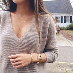 Everyday casual look with deep V and understated jewelry